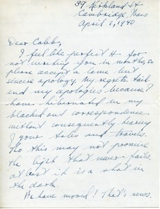 Letter from Ken Stevens to Caleb Foote