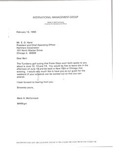 Letter from Mark H. McCormack to E. O. Hand