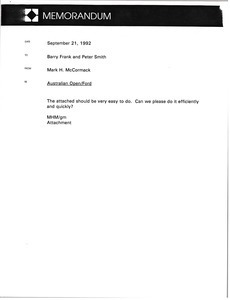Memorandum from Mark H. McCormack to Barry Frank and Peter Smith