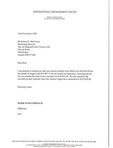 Letter from Mark H. McCormack to Robert E. McCowen