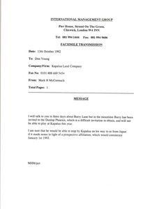 Fax from Mark H. McCormack to Don Young