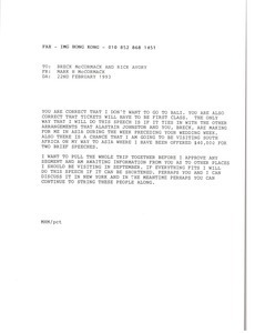 Fax from Mark H. McCormack to Breck McCormack and Rick Avory