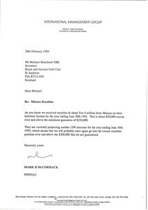 Letter from Mark H. McCormack to Michael Bonallack