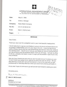 Fax from Mark H. McCormack to Andre J. Heiniger