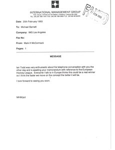 Fax from Mark H. McCormack to Michael Barnett