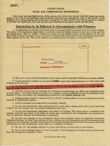 Instructions to be followed in correspondence with prisoners