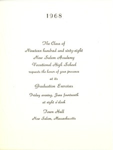 Invitation for the 1968 graduation exercises at New Salem Academy Vocational High School