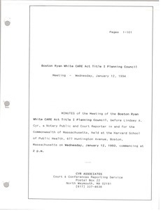 Boston Ryan White CARE act title I planning council meeting