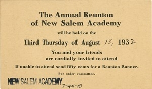 Invitation for Miss Floy Brown for the fifty-ninth annual New Salem Academy reunion