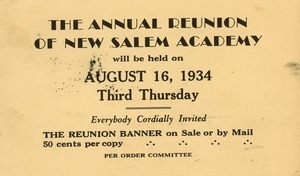 Invitation for Marshall Brown for the sixty-first annual New Salem Academy reunion