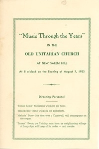 Concert program for the first night of the 200th anniversary for the town of New Salem