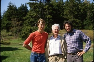 Averill Powers, Mark Sommer, and Harry Hollins (left to right) at Hollins homestead on island in mouth of Kennebec River, Maine