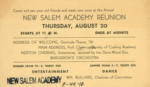 Invitation for Miss Floy Brown for the sixty-second annual New Salem Academy reunion