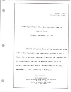 Boston Ryan White title I CARE act public hearing