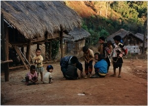 Young boys playing in Southern Thai village