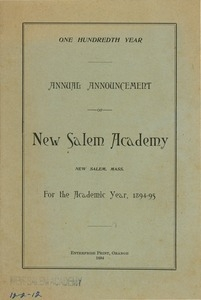 The hundredth annual announcement for New Salem Academy