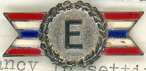 E award pin won by Roswell A. Calin for excellence setting up plant security in New England