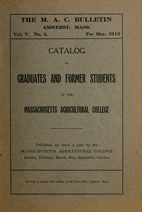 Catalogue of Graduates and Former Students of the Massachusetts State College