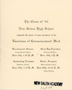 Form letter invitation for the New Salem High School class of 1902 commencement week exercises