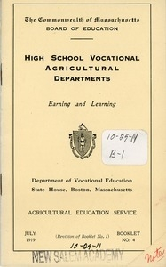 Booklet by the Commonwealth of Massachusetts board of education for high school vocational agricultural departments