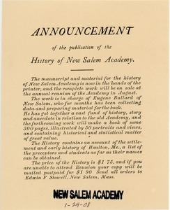 Announcement of the publication of the history of New Salem Academy.