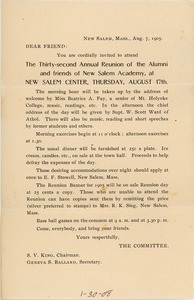 Form letter invitation for the thirty-second annual reunion of New Salem Academy.