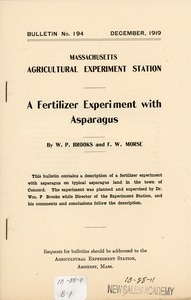 Bulletin for the Massachusetts agricultural experiment station: a fertilizer experiment with asparagus