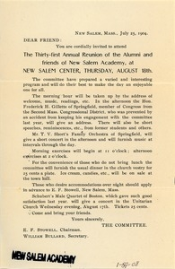 Form letter sent to Mr. and Mrs. B. W. Fay