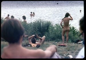 Bathers at the edge of the lake at the Woodstock Festival