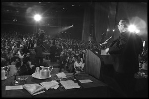 Arthur M. Schlesinger, Jr., speaking at the National Teach-in on the Vietnam War: view from the side of the stage