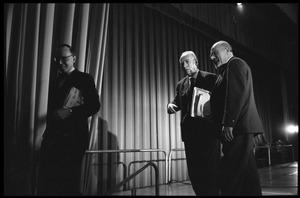 Arthur M. Schlesinger, Jr., Hans J. Morgenthau, and Isaac Deutscher (from left) on stage their panel discussion at the National Teach-in on the Vietnam War