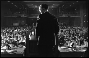 Arthur M. Schlesinger, Jr., speaking at the National Teach-in on the Vietnam War: view from rear stage