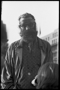 Bearded protester at a demonstration against the prosecution of Oz Magazine editors on charges of obscenity