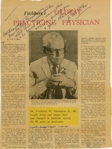 Article titled 'Fitchburg's oldest practicing physican'