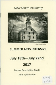 New Salem Academy course description and application for summer arts intensive