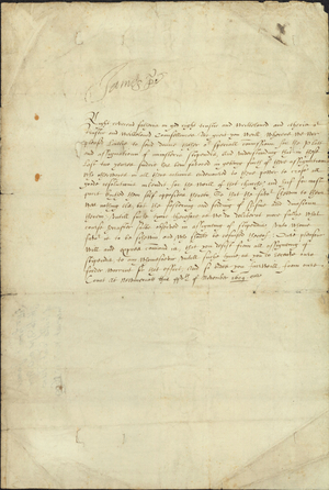 Manuscript from James I to the Archbishops and Bishops of Scotland, 1609