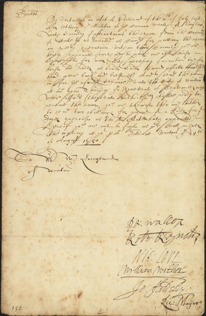 Order to furnish a horse and equipment for the militia, 1650 August 28