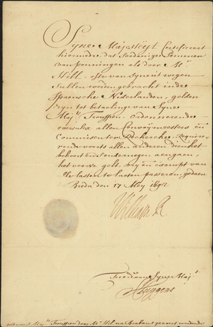 Document regarding Richard Hill, 1692 May 17