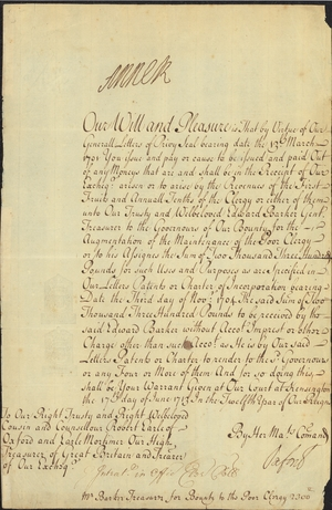 Authorization for payment of the clergy, 1713 June 17