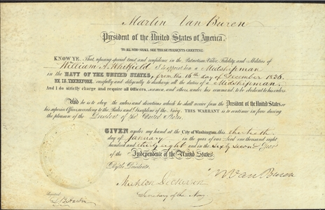 Appointment of Midshipman William A. Whitfield, 1838 January 30
