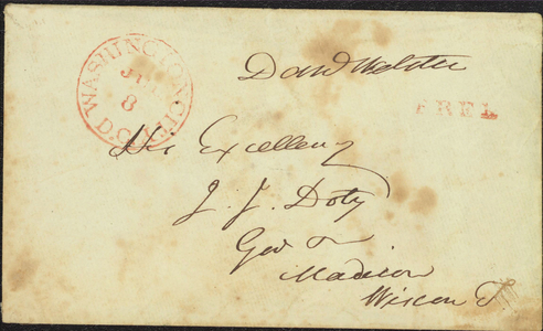 Free franked envelope addressed to James Doty, 1841 July 8