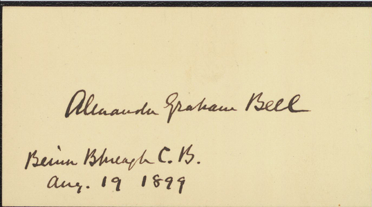 Card signed by Alexander Graham Bell, 1899 August 19