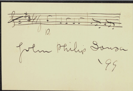 Card signed by John Philip Sousa, 1899