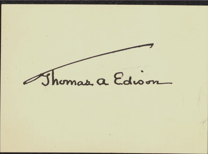 Calling card of Mrs. Thomas A. Edison signed by Thomas Edison, approximately 1886-1931