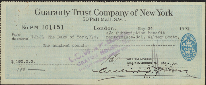 Check signed by Albert, Duke of York, 1922 May 24