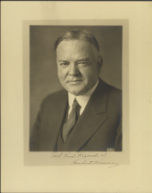 Photograph of President Hoover, about 1930