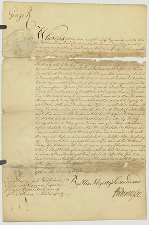 Court martial papers, 1752