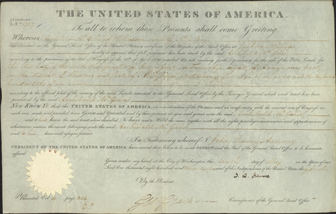 Land grant to Archibald McGehee, 1826 May 10