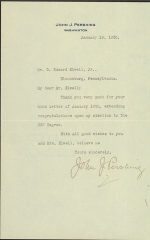 Letter from General Pershing to G. Edward Elwell, Jr., 1930 January 18
