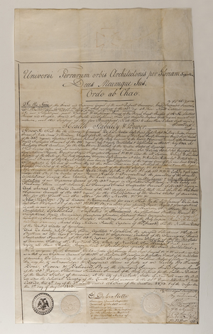 Engrossed copy of the Letters of Constitution for the Supreme Council for the Northern District of the United States of America (i.e. Supreme Council, 33°, Northern Masonic Jurisdiction), dated 1813 August 5
